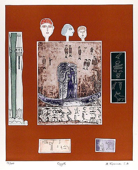 Mireille Kramer, Egyptian, Aquatint Etching