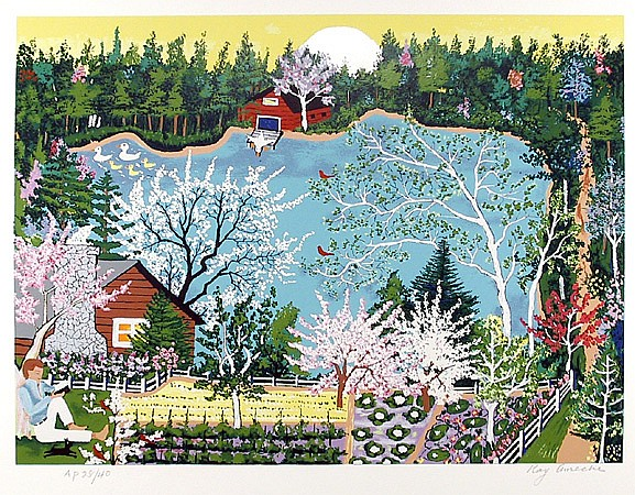 Kay Ameche, Walden Pond in Spring, Serigraph