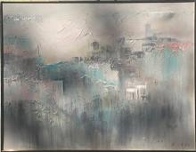 Lee Reynolds, Abstract Cityscape, Acrylic Painting