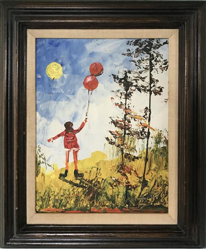 Morris katz girl with balloons oil painting for Katz fine art
