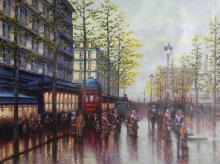 Rugero Valdini, Rainy City at Dusk, Oil Painting
