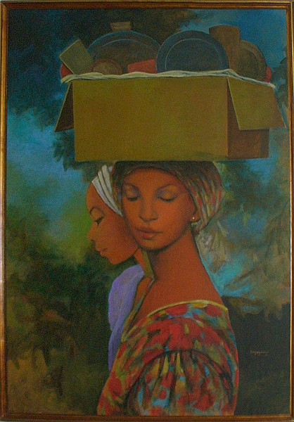 Jean Claude Legagneur, Haitian Vendor, Oil Painting