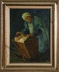 Chaim Goldberg,  Woman with Child in Crib, Oil Painting, Chaim (1890) Goldberg, Click for value