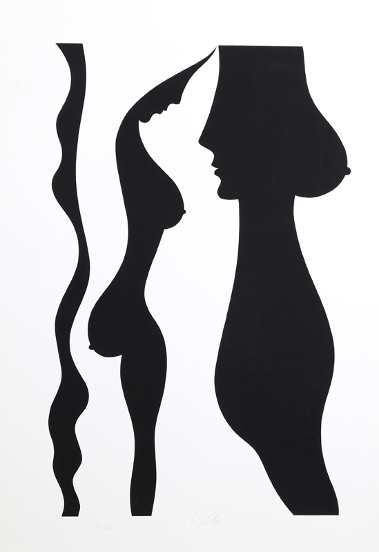 Bob Cato, Nude in Profile (Black), Silkscreen