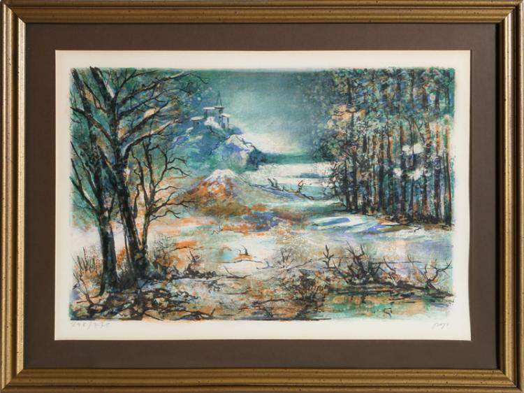 Jose Puig Marti, Winter Scene, Lithograph