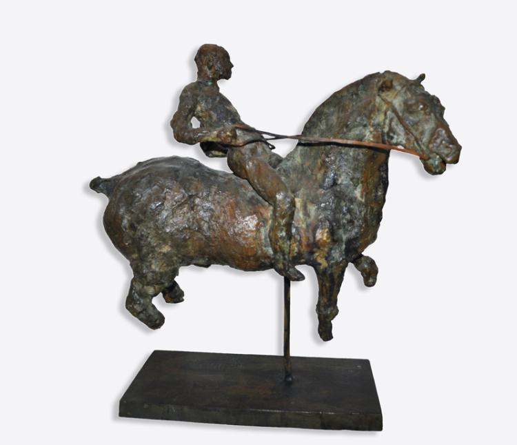 Lina Binkele, Horse with Rider, Bronze with Patina