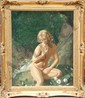 John Bulloch Souter, Seated Nude by Waterfall, Oil Painting