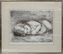 Lila Copeland, Sleeping Child, Lithograph