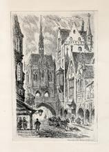Chicago Street Scene, Aquatint Etching by Holmes Engraving Co.