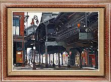 Tore Asplund, Elevated Train, Oil Painting