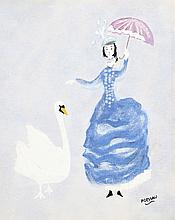 Paul Dessau, Woman with Swan, Offset Lithograph
