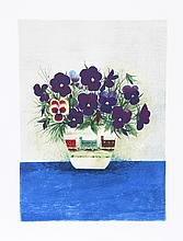 Mary Faulconer, Purple Pansies in Cup, Lithograph
