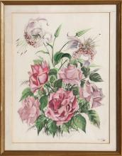 Janicotte, Pink Flowers, Lithograph