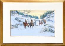 Noel Daggett, When Mountains Turn Cold, Gouache Painting