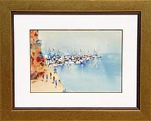 Ben Avram, Fishing Village, Watercolor Painting