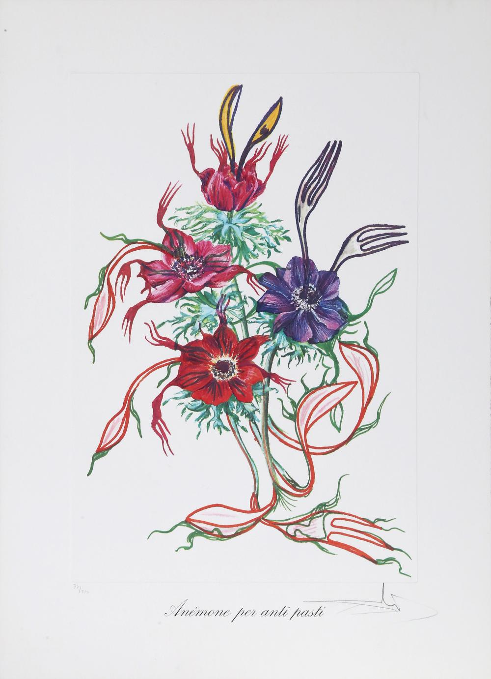 Salvador Dali, Anemone per Anti-Pasti (Anemone of the Toreador) from Florals, Lithograph with embossing on heavy Arches paper