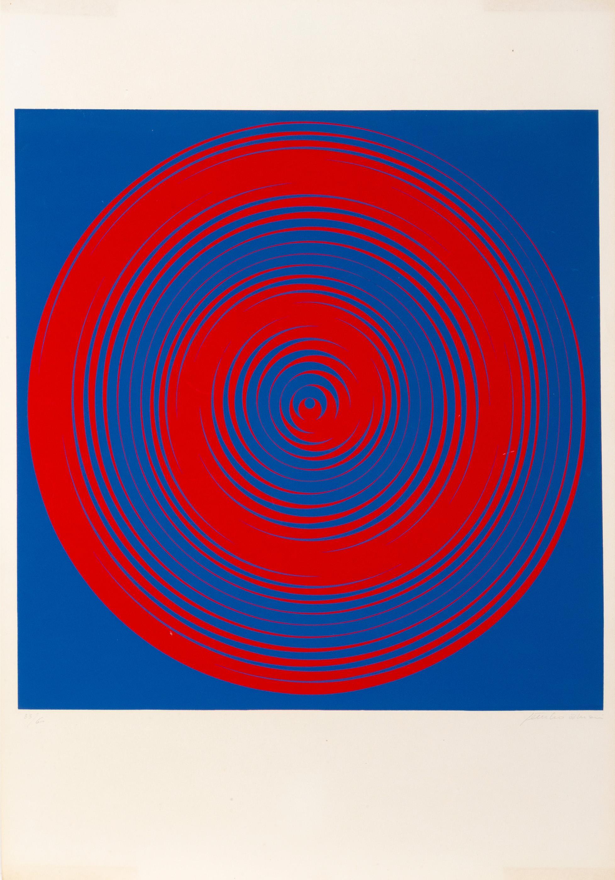 Getulio Alviani, Blue and Red Spirals, Screenprint
