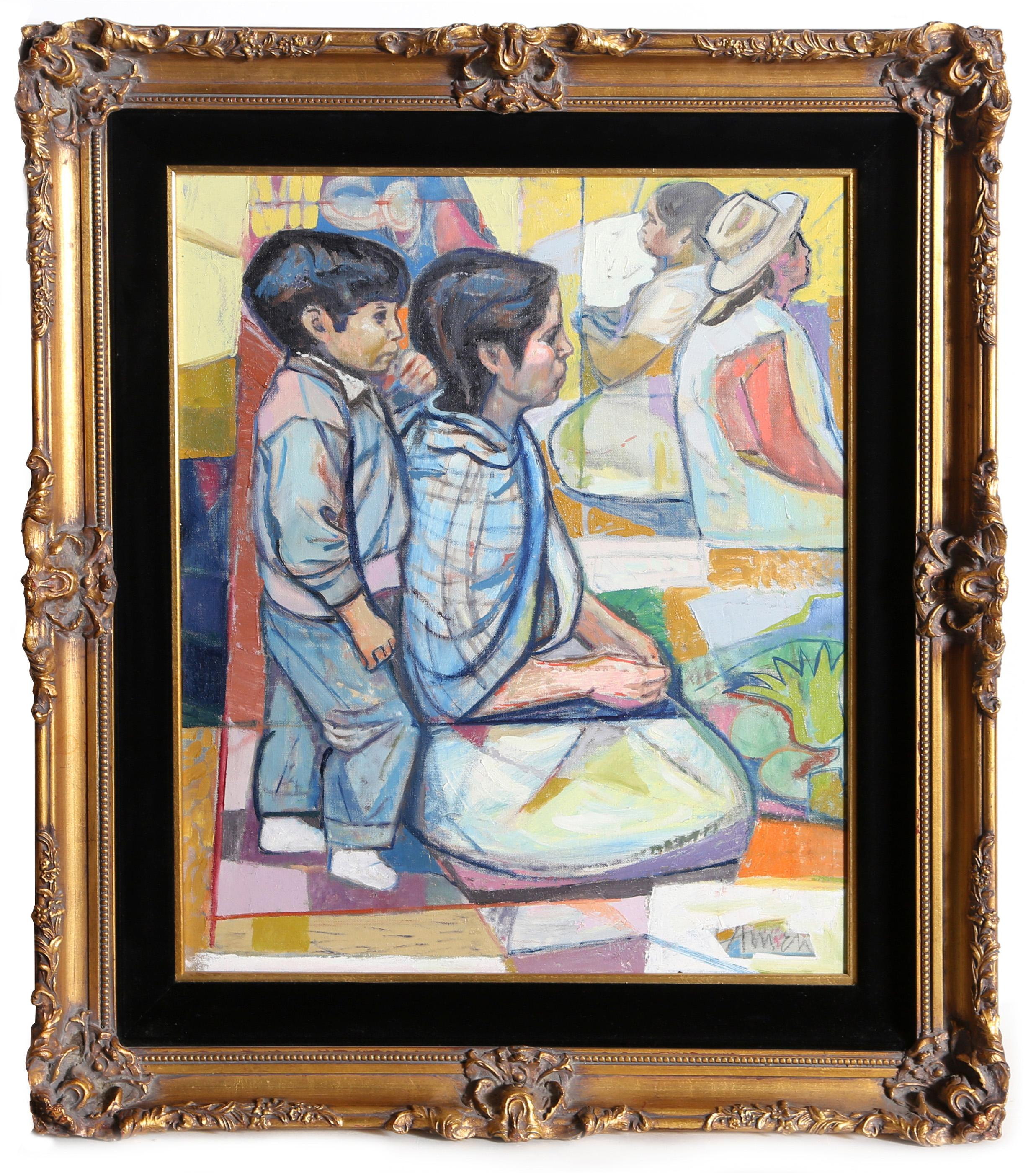Irving Amen, Seated Mother and Son, Oil Painting