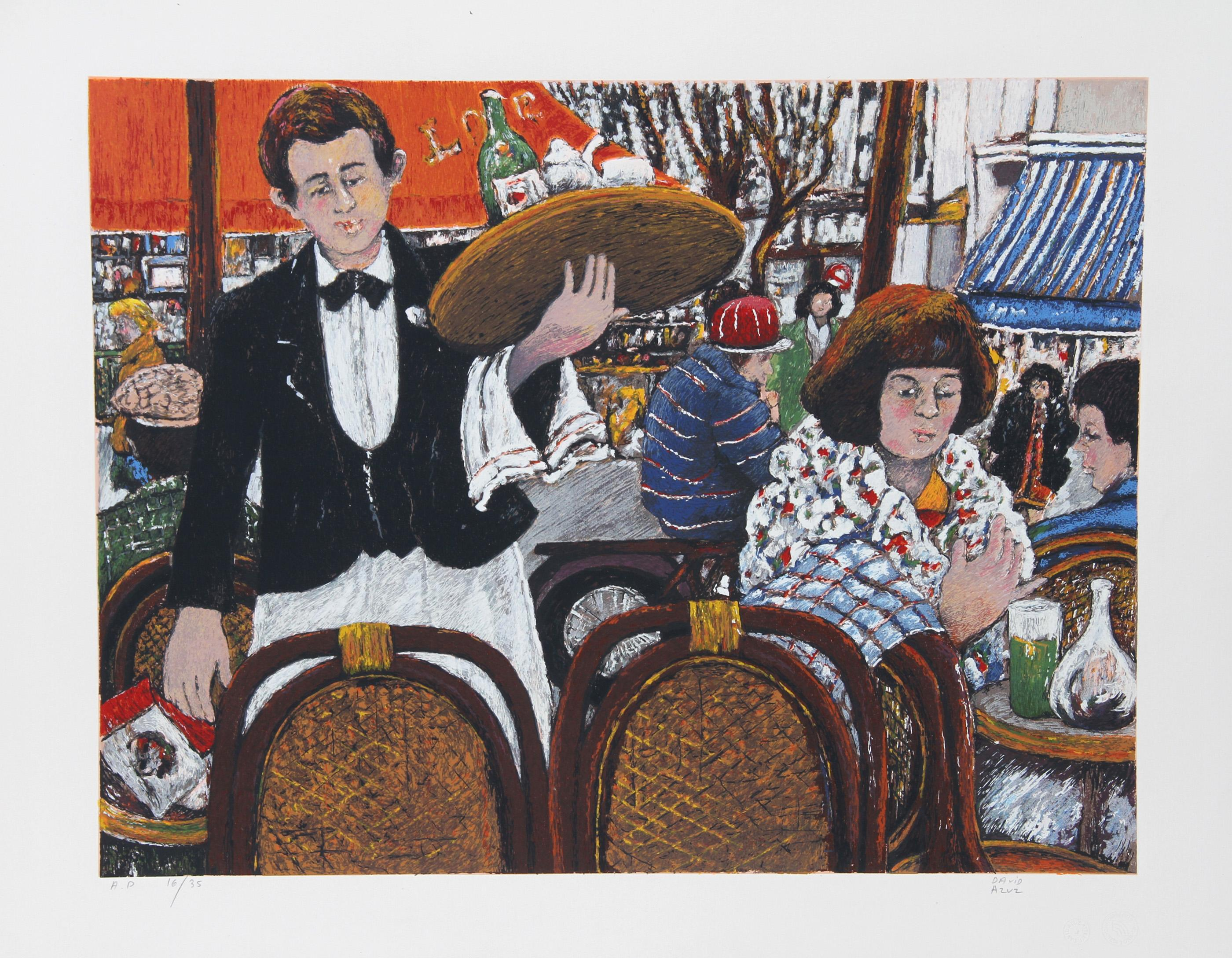 David Azuz, Cafe La Rontonde Montparnasse, Lithograph