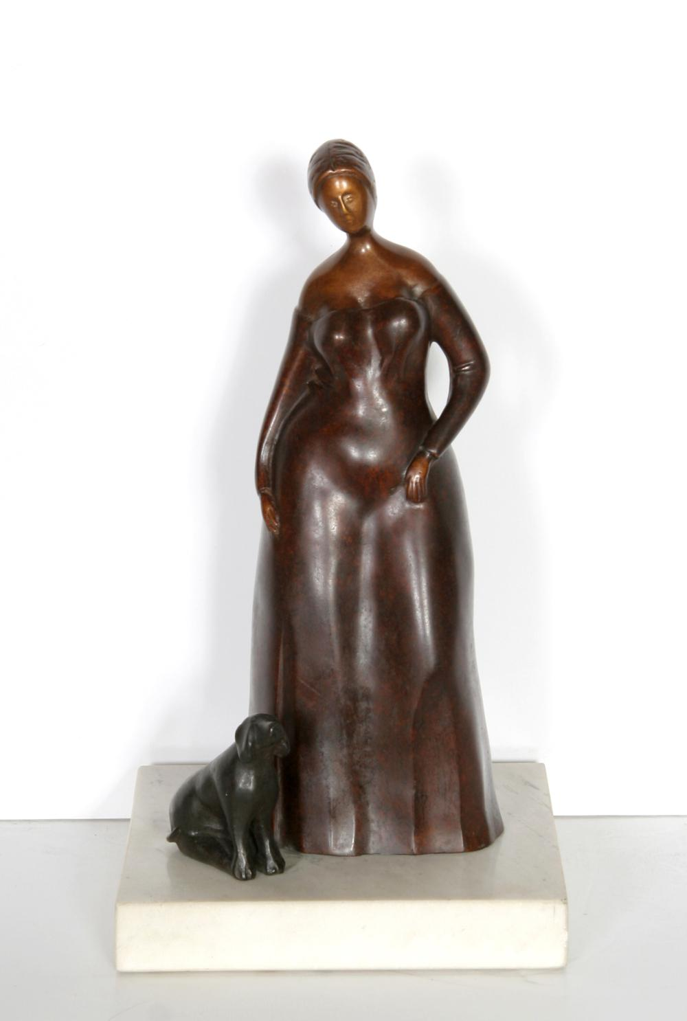 Branko Bahunek, Woman with Dog, Bronze Sculpture