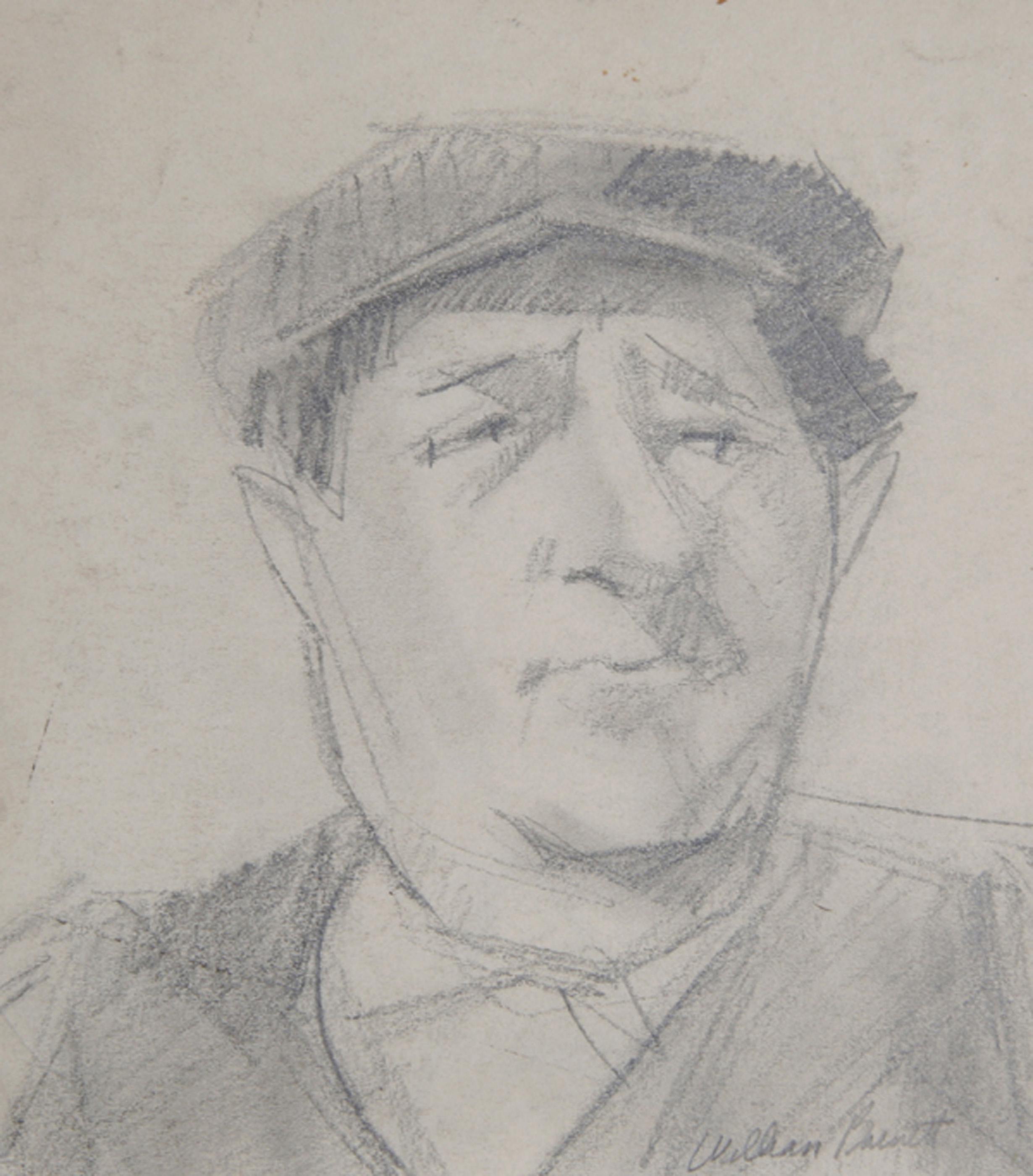 William Barnett, Portrait of Man in Cap, Graphite Drawing