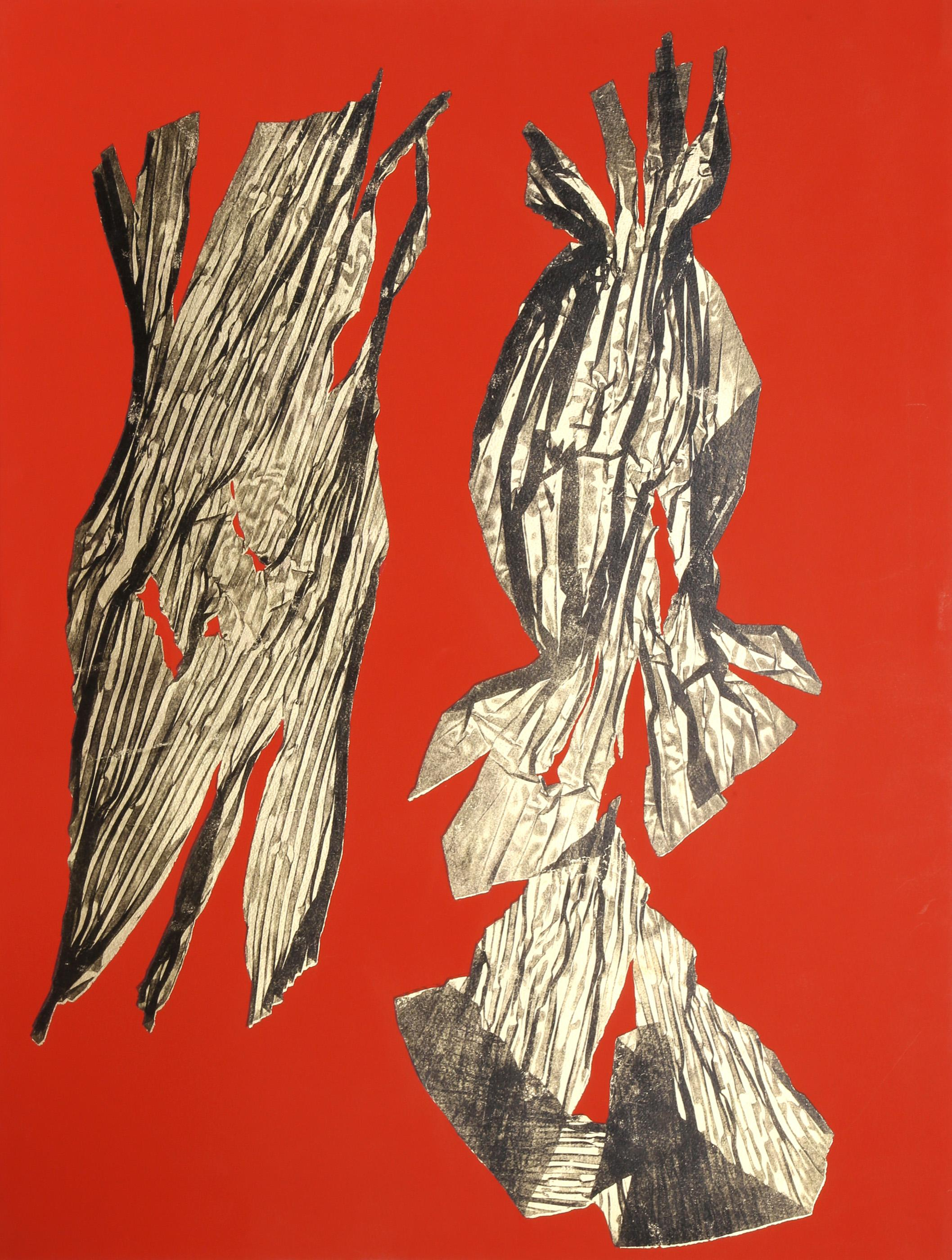 Lynda Benglis, Dual Nature (Red), Lithograph with Gold Leaf