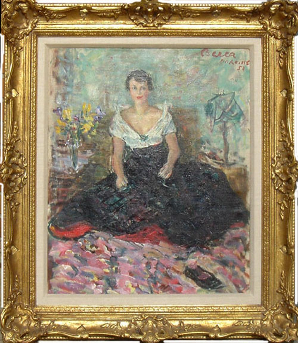Dimitrie Berea, Young Girl Seated, Dorkimes, London, Oil Painting