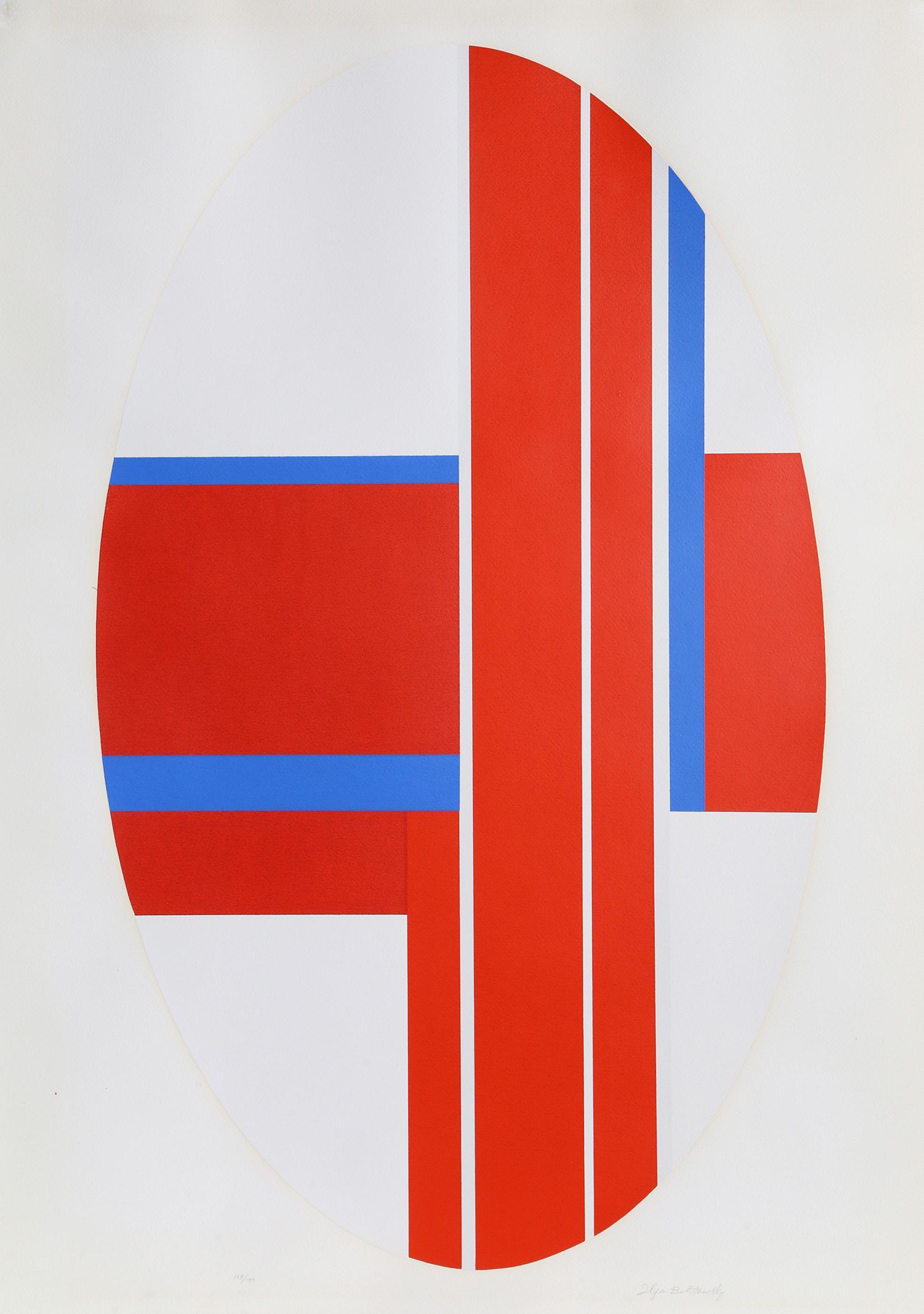 Ilya Bolotowsky, Red Oval Variation 3, Screenprint