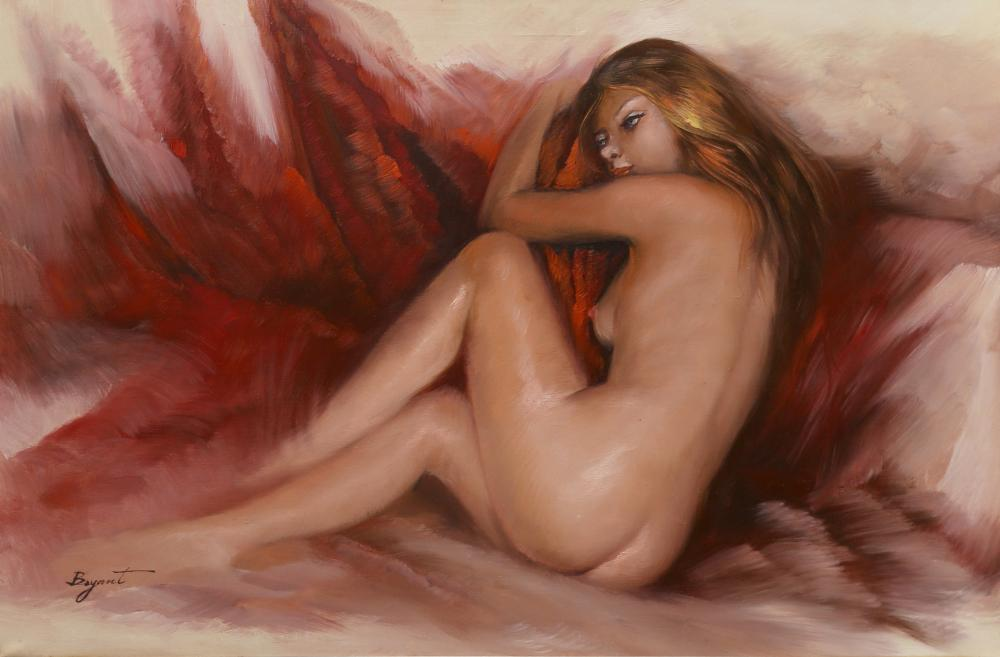 Bryant, Nude on Red, Oil Painting