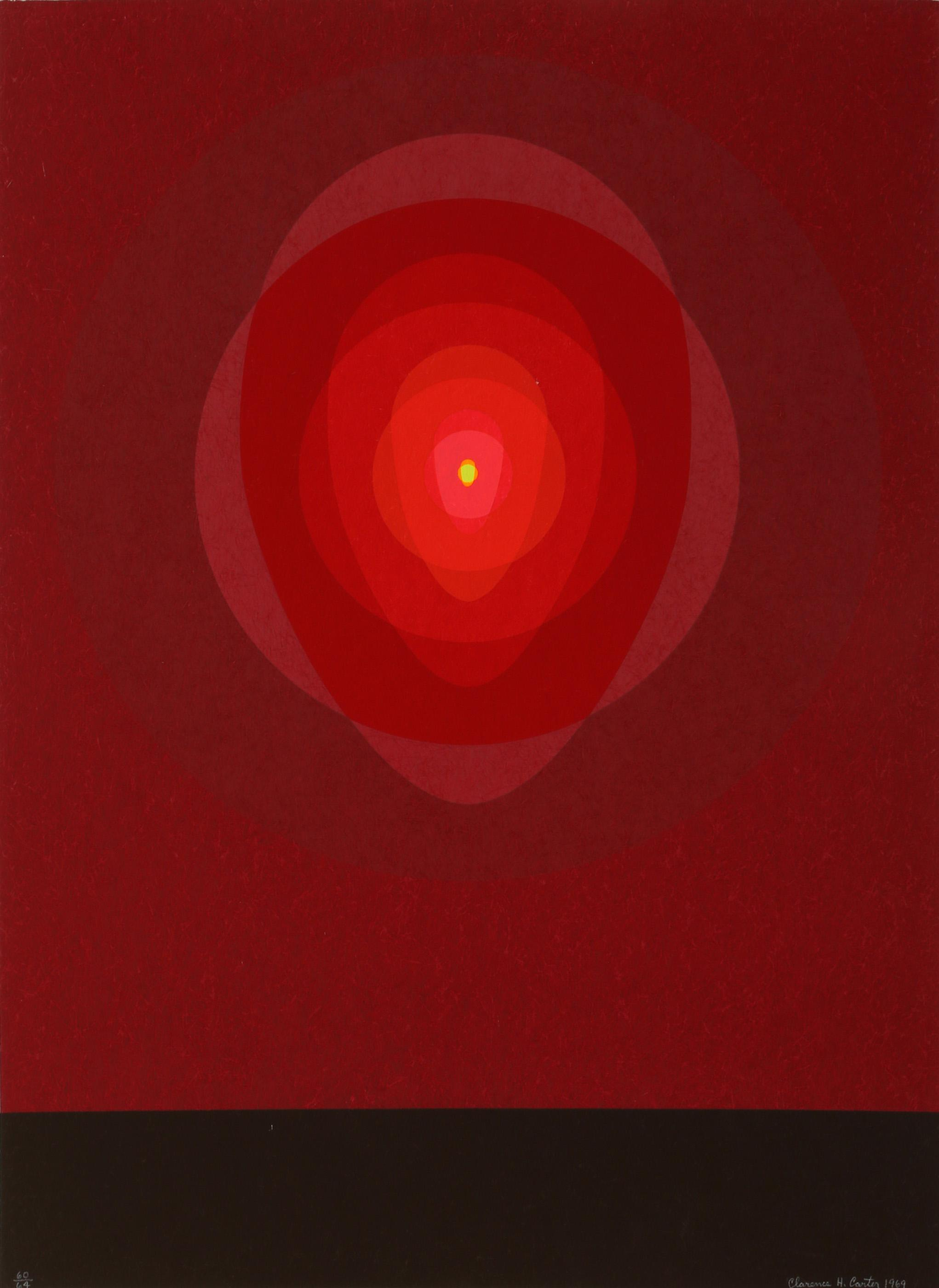 Clarence Holbrook Carter, Red Mandala, Silkscreen on Heavy Hand-Made Paper