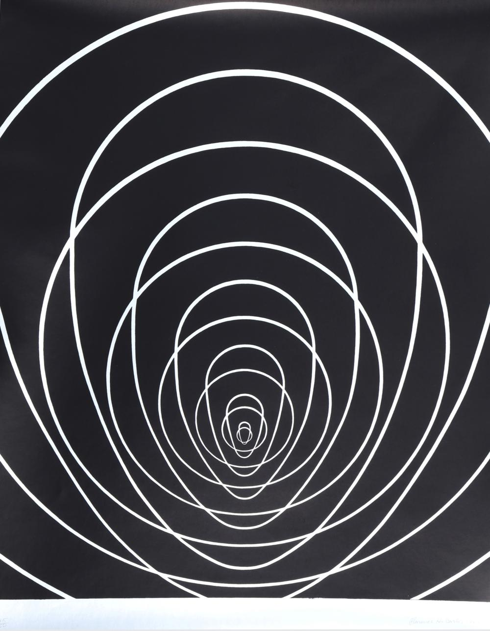 Clarence Holbrook Carter, Concentric Space (Silver), Silkscreen on foil paper