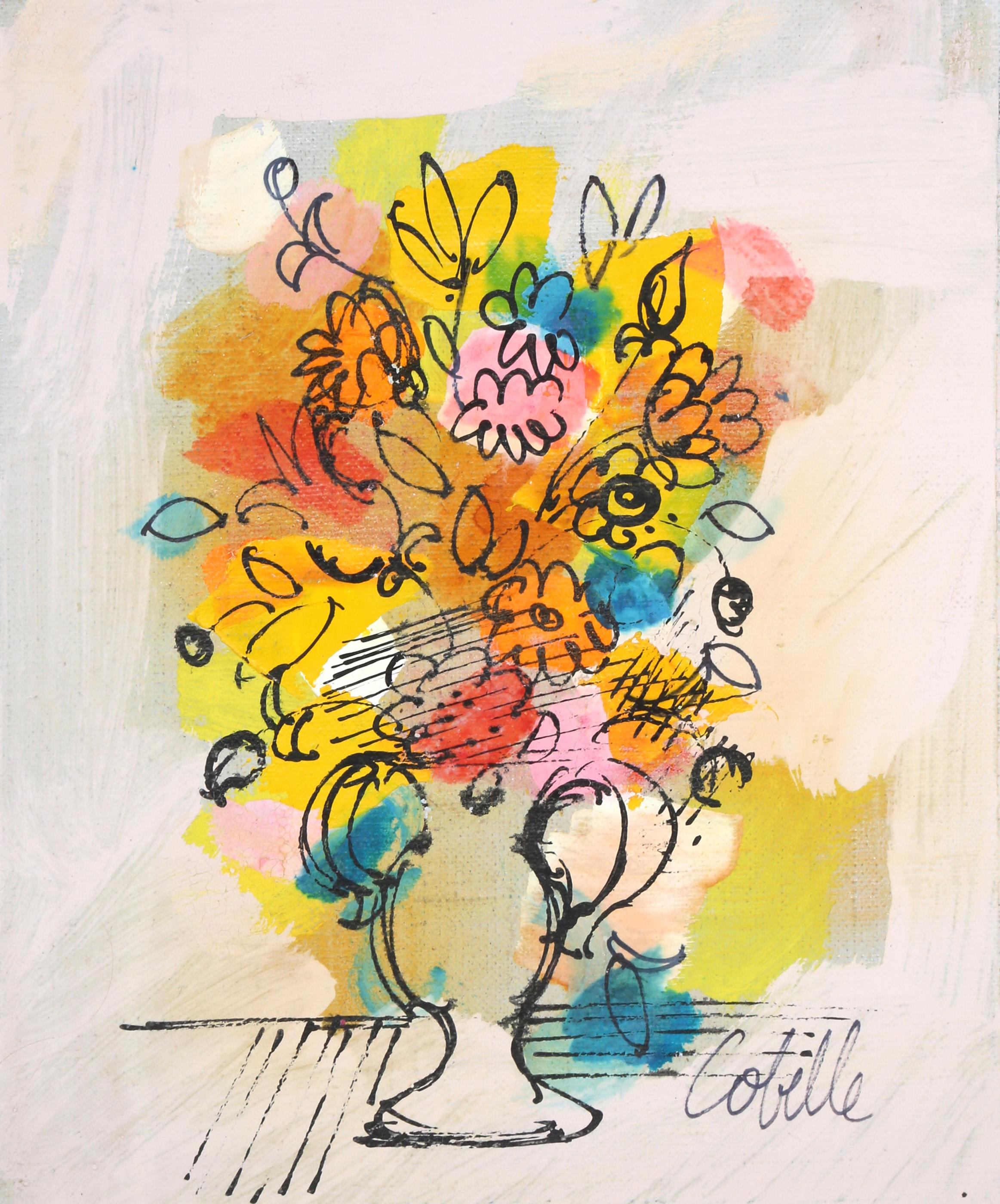 Charles Cobelle, Vase with Flowers (Yellow and Teal), Acrylic Painting