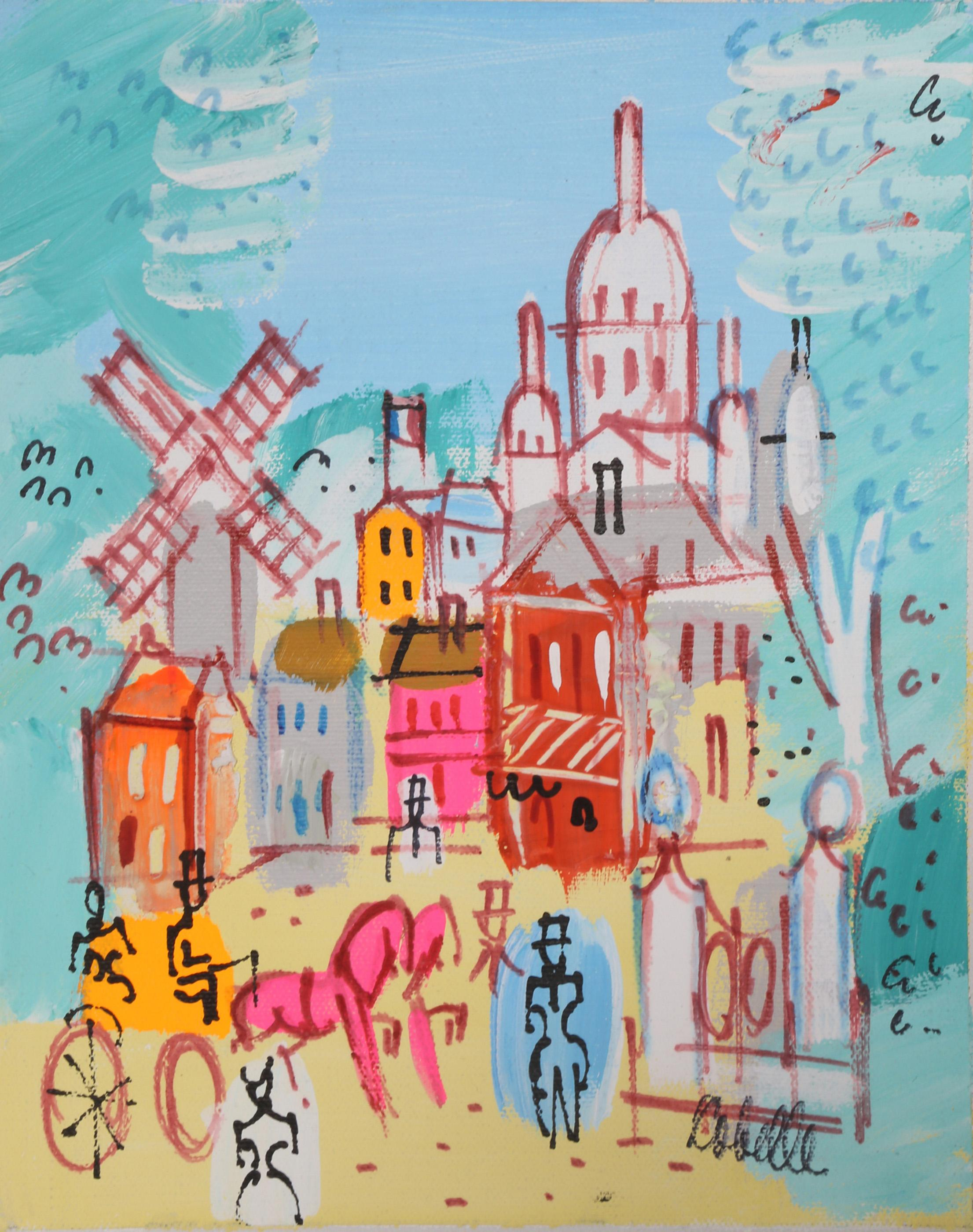 Charles Cobelle, Sacre Coeur with Moulin Rouge 3, Acrylic Painting