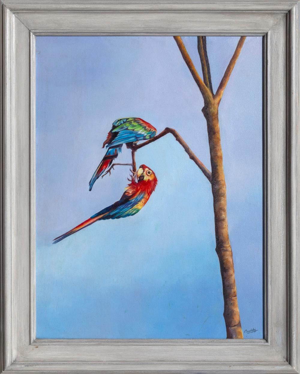 Cualchi, Lovely Birds (Two Scarlet Macaw Parrots), Oil Painting