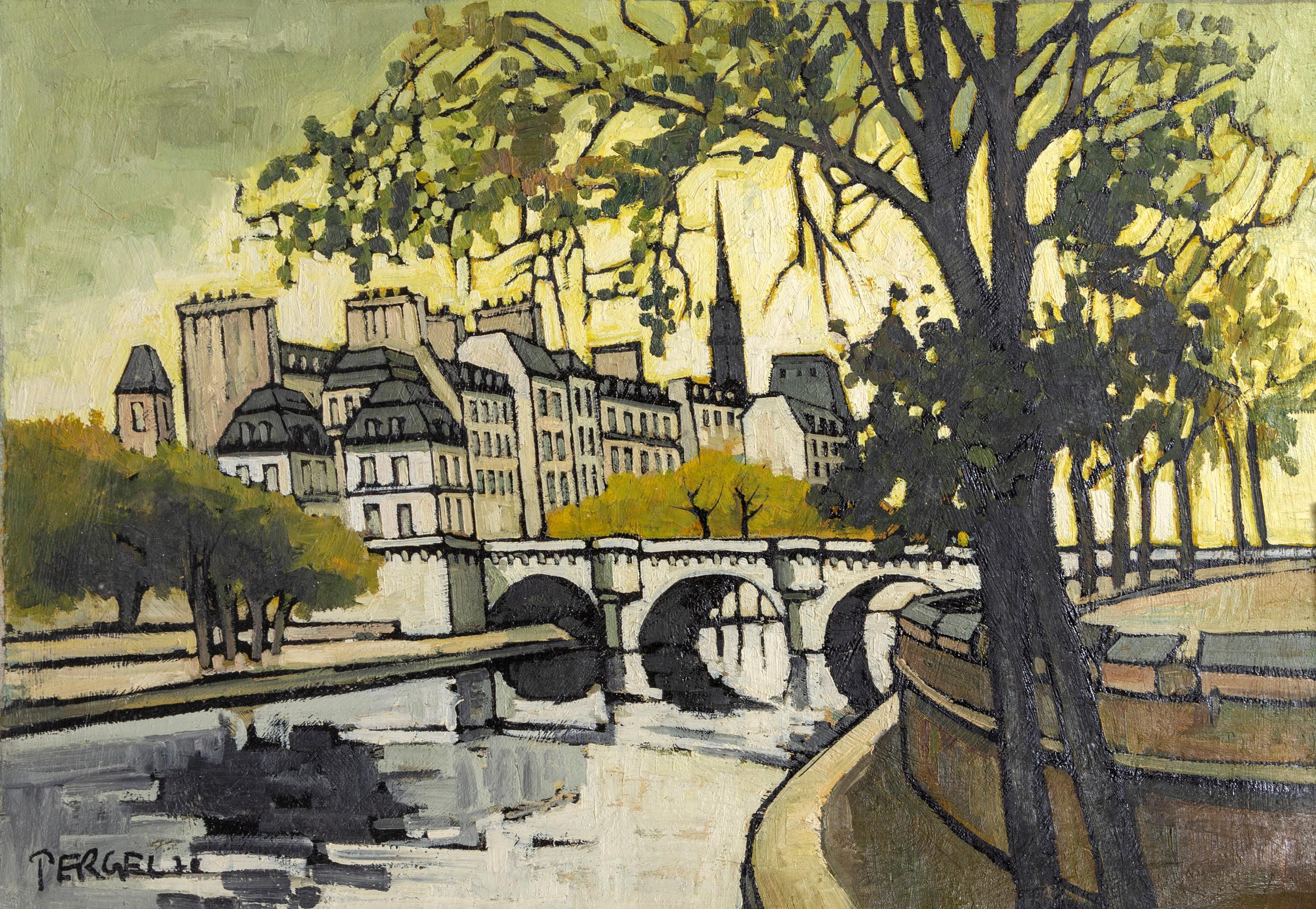 Jacques Pergel, Cityscape 9, Oil Painting