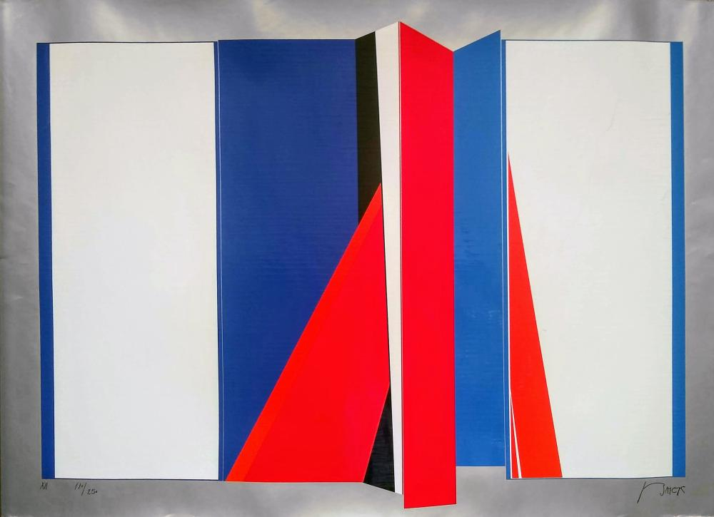 Jean Baier, Red and Blue Origami, Screenprint on Foil