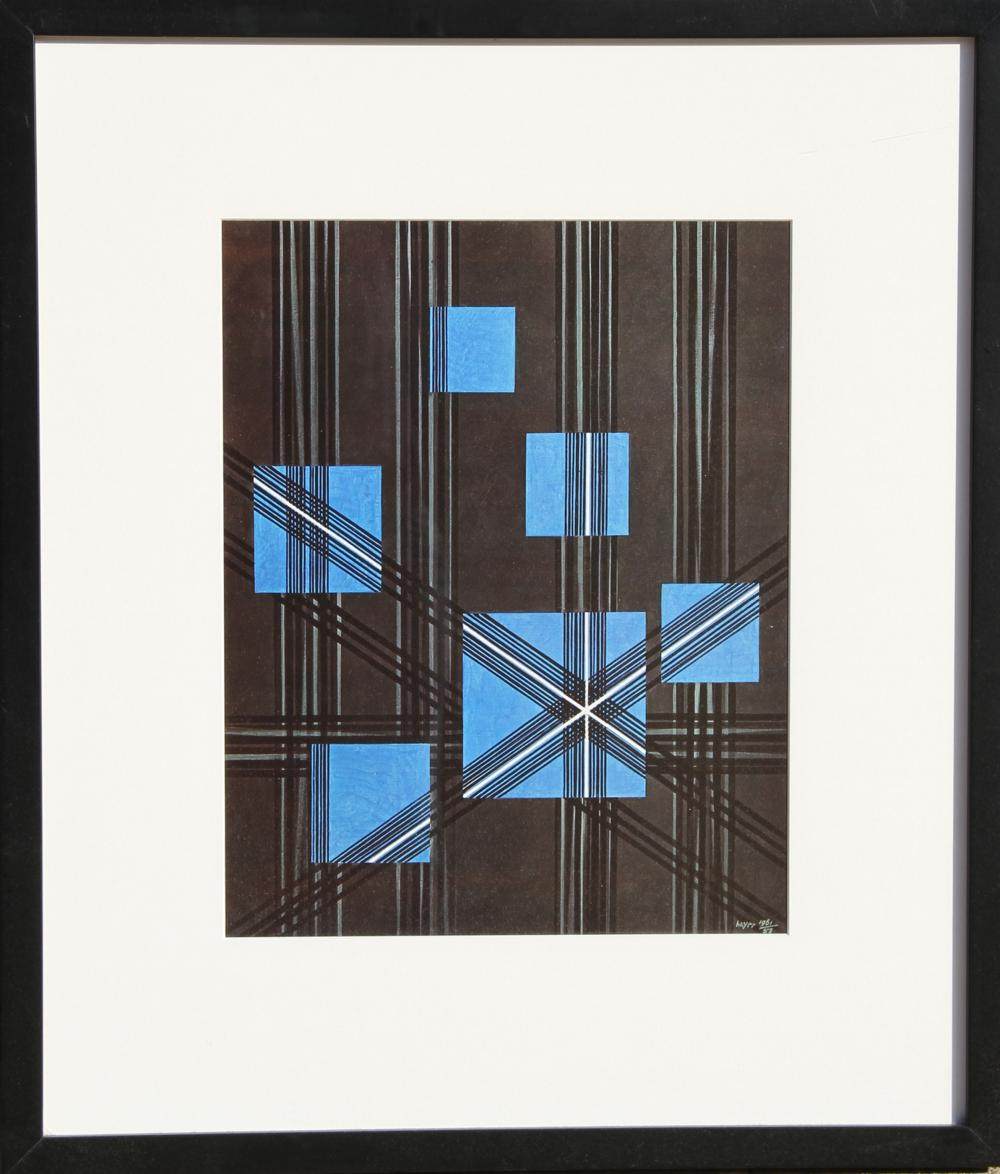 Herbert Bayer, Linear Grey with Six Blue Squares, Offset Lithograph