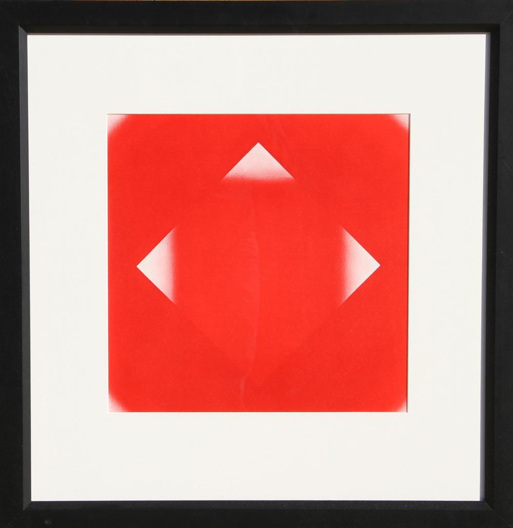 Herbert Bayer, Red Square with Three Corners, Offset Lithograph