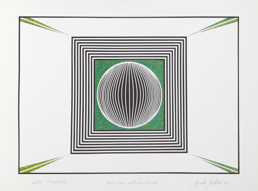 Gisela Beker, Suspended (Green), Screenprint with hand-painting