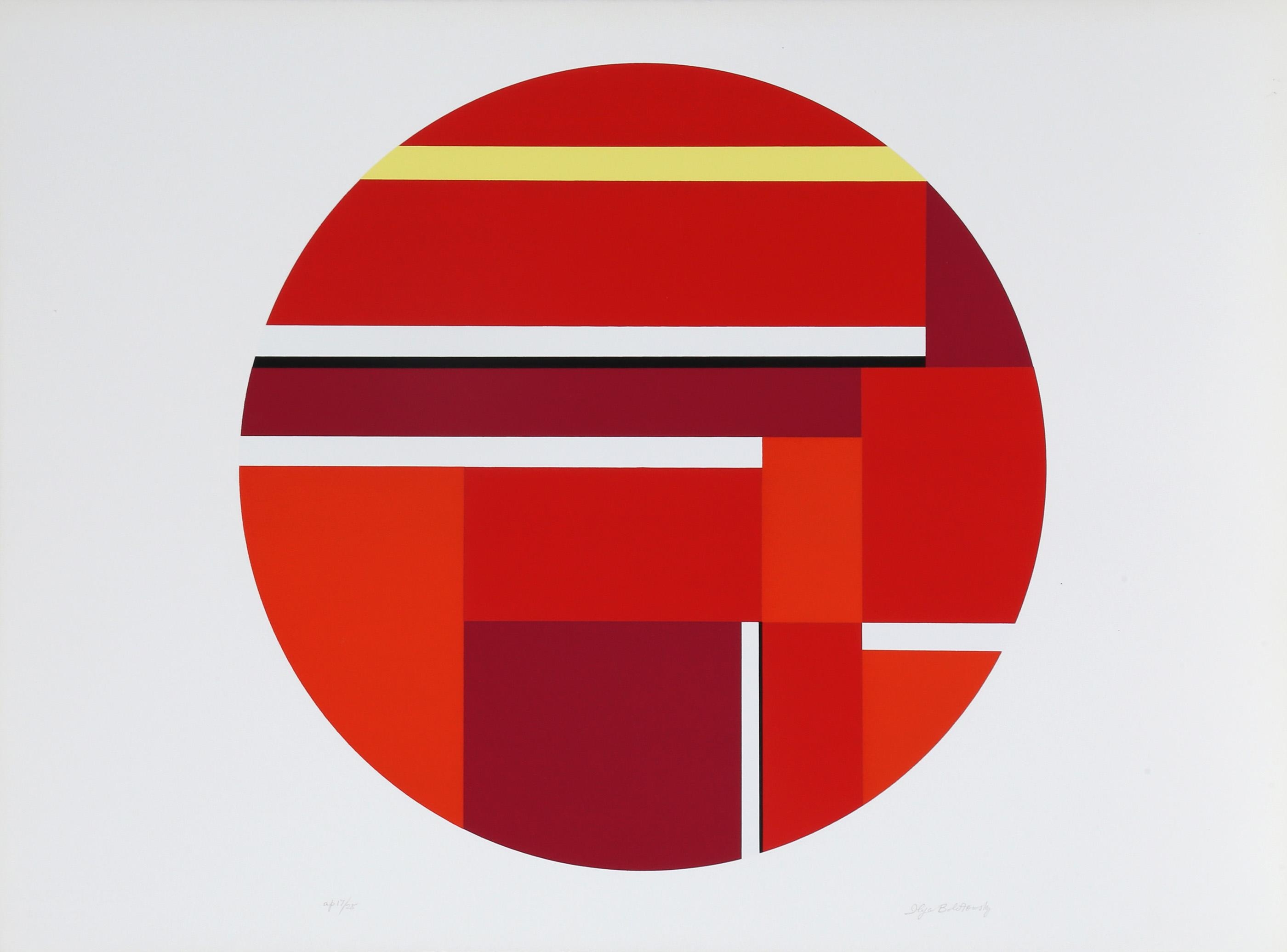 Ilya Bolotowsky, Red Tondo III, Screenprint
