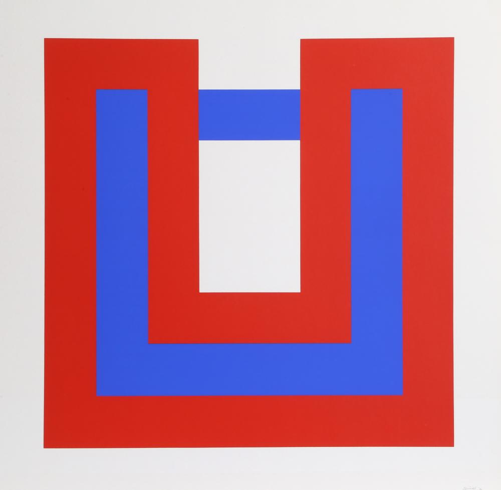 Bob Bonies, Composition Red and Blue I, Screenprint