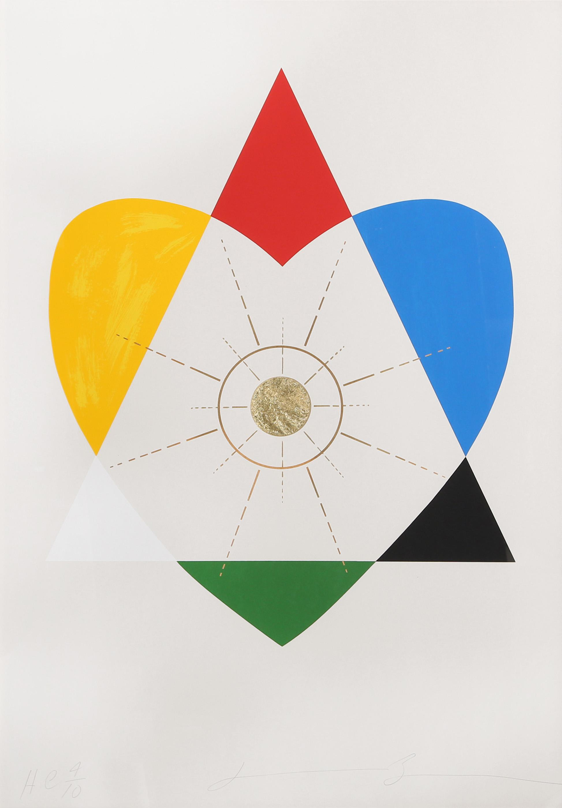 Jonathan Borofsky, The Balance of Love and Work Produces Energy, Screenprint and 22ct. Gold-leaf on Fabriano