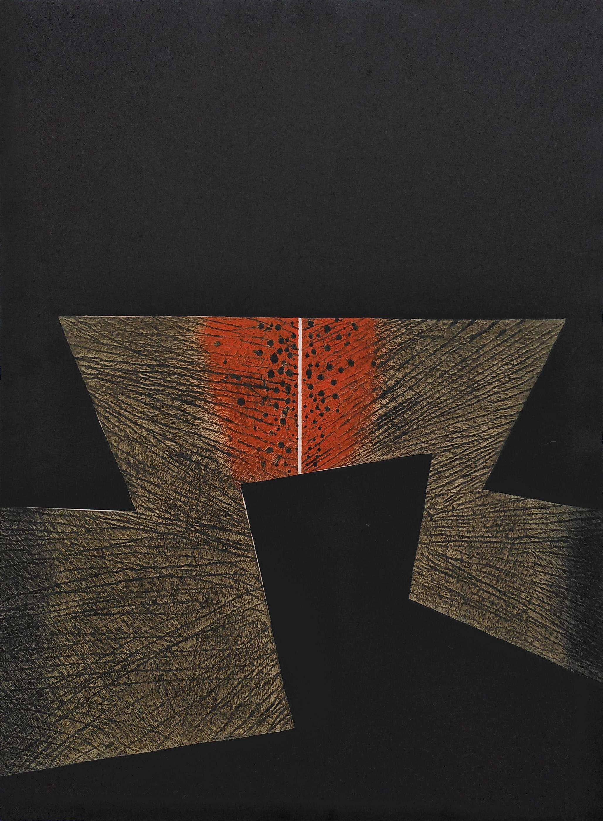 Arun Bose, Black Lightning, Etching with Aquatint