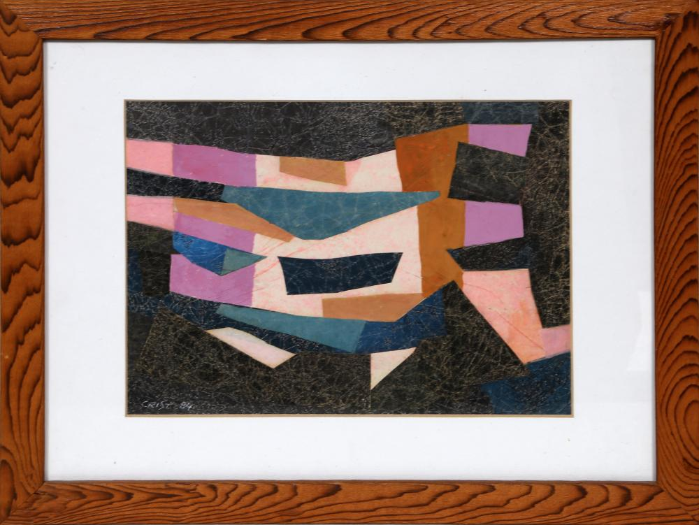 Richard Crist, Geometric Abstract, Mixed Media with Collage on paper