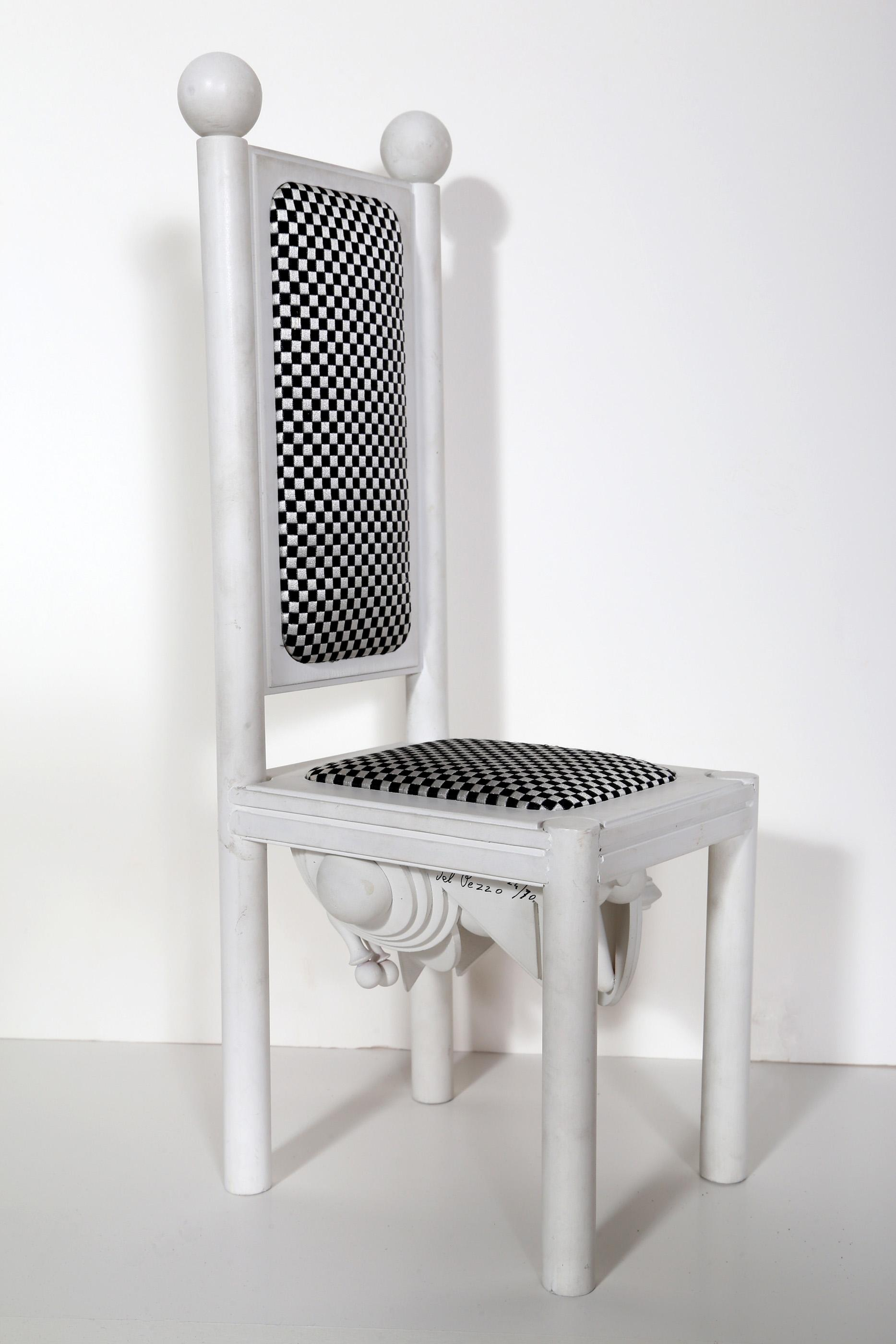 Lucio del Pezzo, Chair, Assemblage with wood, upholstery and paint