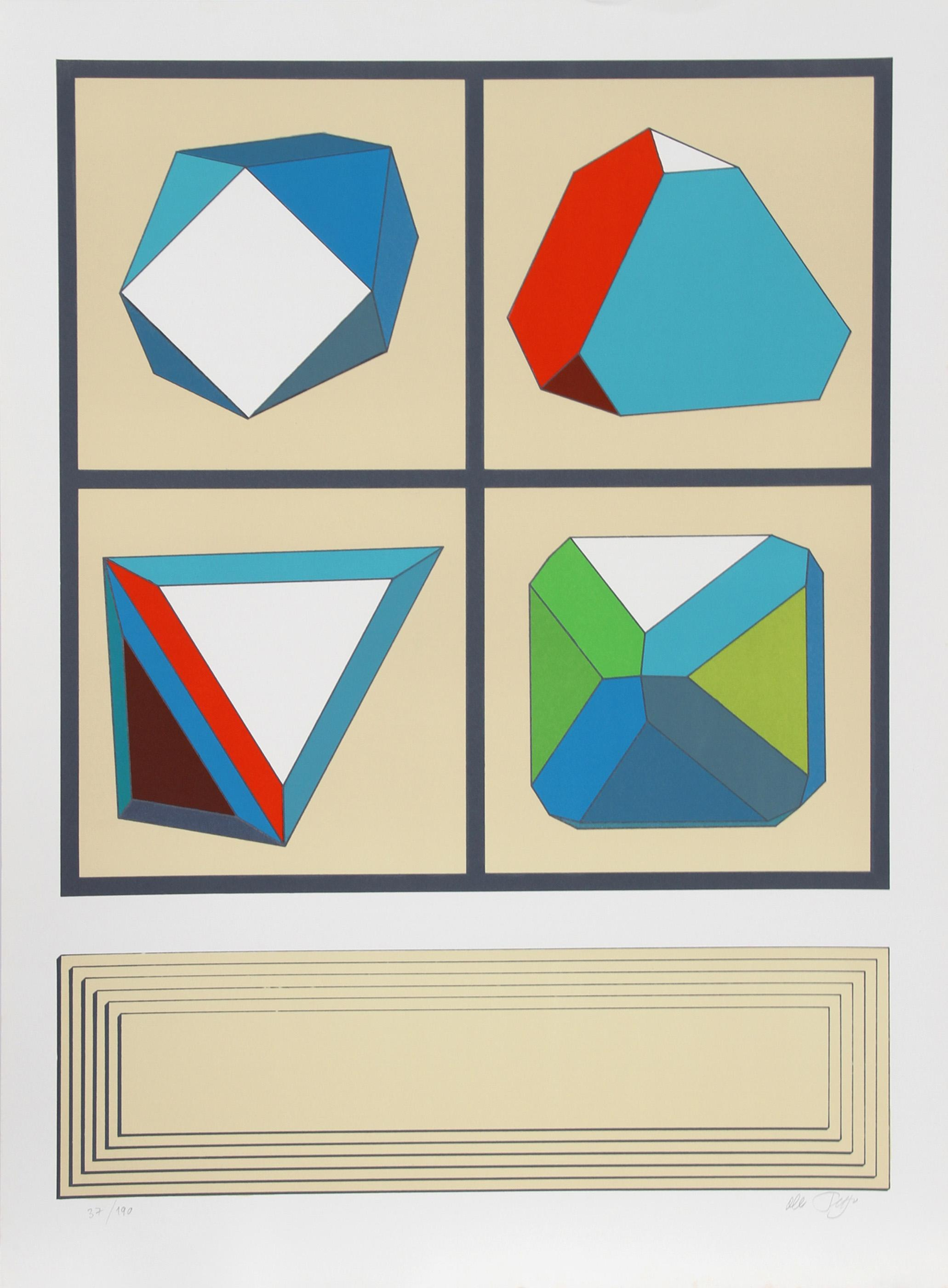 Lucio del Pezzo, Shapes in Grid, Screenprint