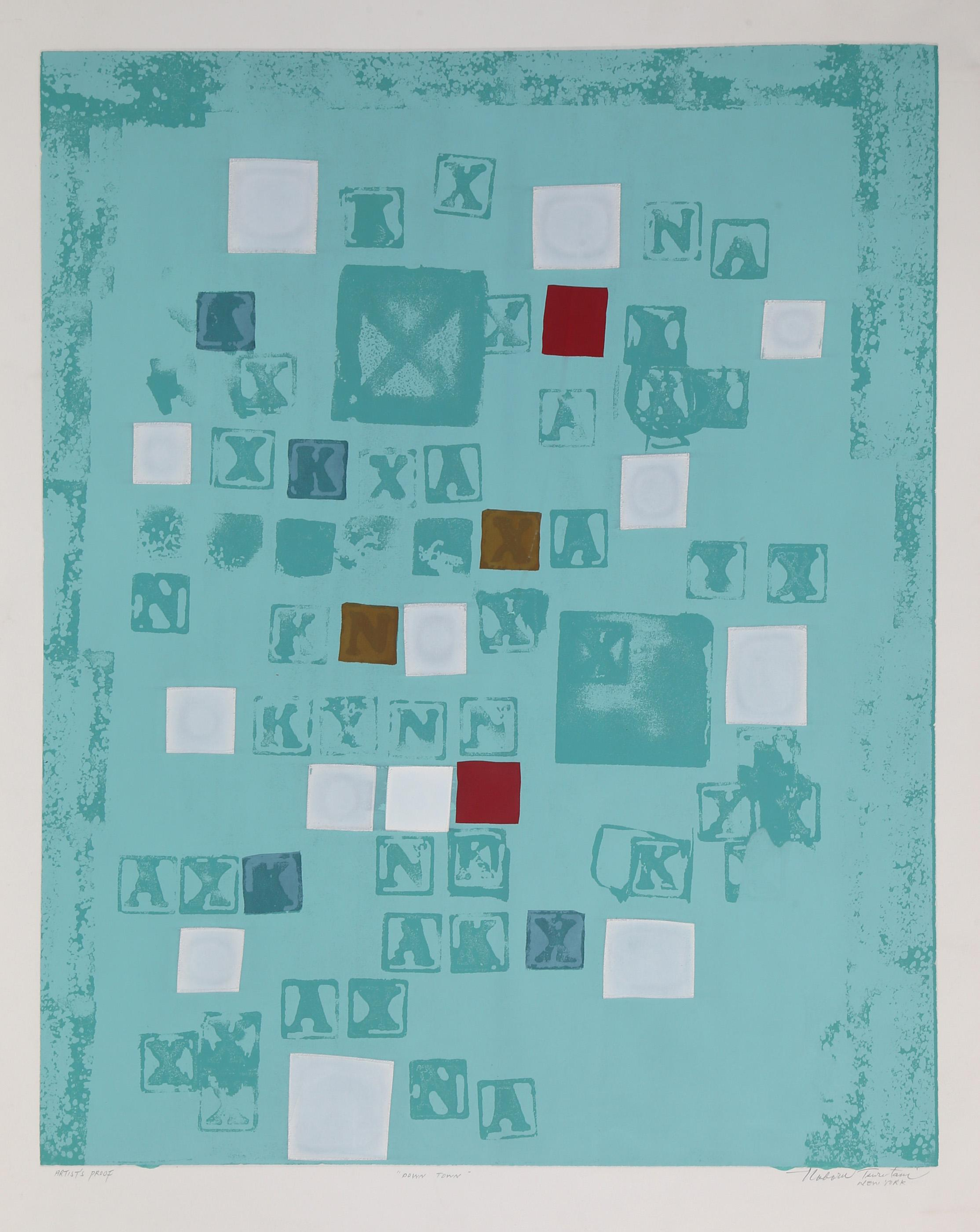 Noboru Tsurutani, Down Town, Relief Print with Wood Type