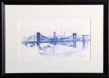 Dimitrie Berea, Brooklyn and Manhattan Bridges (33), Ink on paper, signed