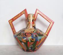 Mirko, Vaso delle Braccia (Three Musicians), Painted Terracotta Vase, signed
