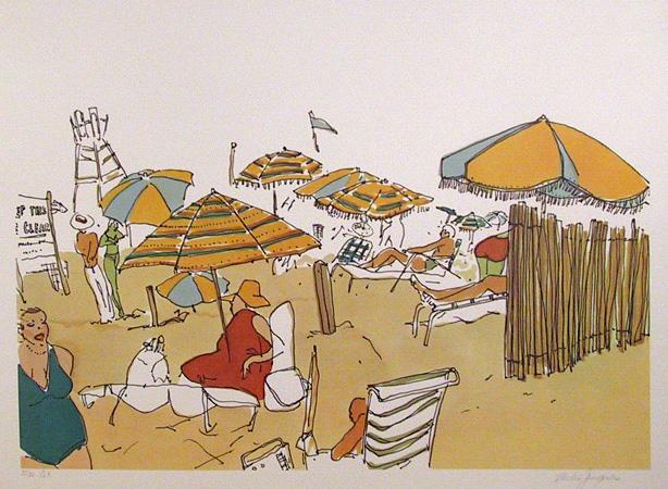 Vasilios Janopoulos, Beach Scene, Lithograph